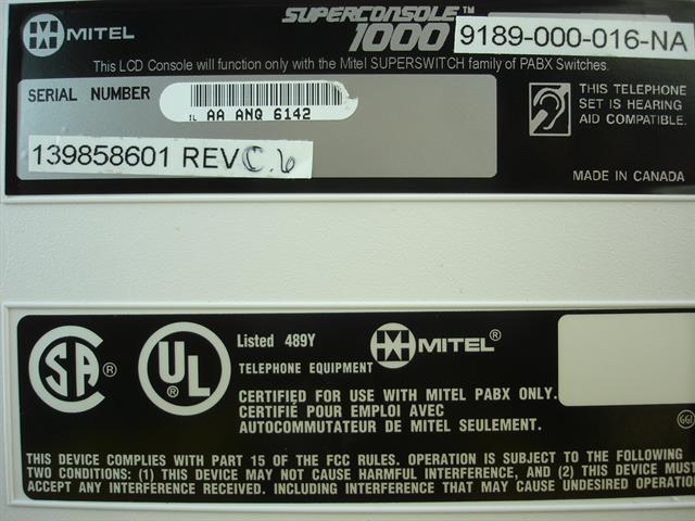 Mitel SuperConsole 1000 9189-000-016-NA White Attendant Console image