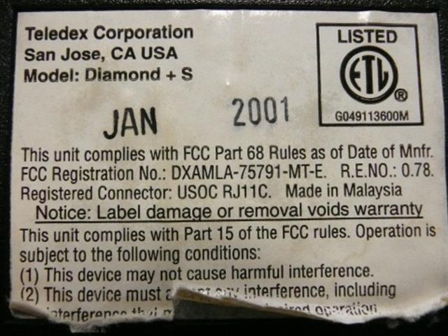 Teledex Diamond + S Black w/Black Buttons Phone image