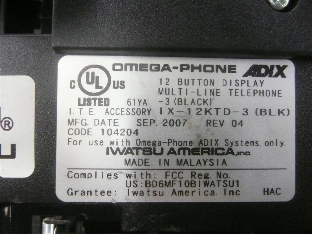 Iwatsu Adix IX-24KTD-3 104204 24 Button Digital Telephone with Speakerphone and Display image