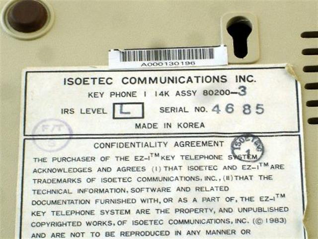 Executone- Isoetec 80200 (B Stock) Phone image