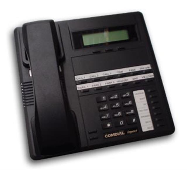 Comdial Impact SCS 8312S-FB Flat Black 12 Button Digital Telephone with Speakerphone and Display image