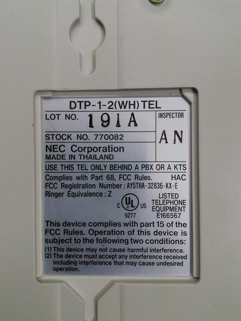 NEC DTP-1-2 / 770082 Phone image