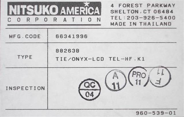 NEC - Nitsuko - Tie 88263B Phone image