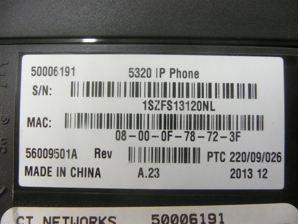 Mitel MiVoice 5320 50006191 8 Button Self-Labeling VoIP Telephone image
