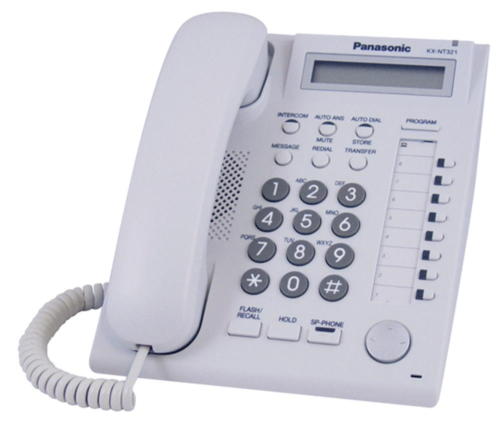 Panasonic DT300 Series KX-DT321-W White 8 Button Digital Telephone with Speakerphone and 1 Line Backlit Display image
