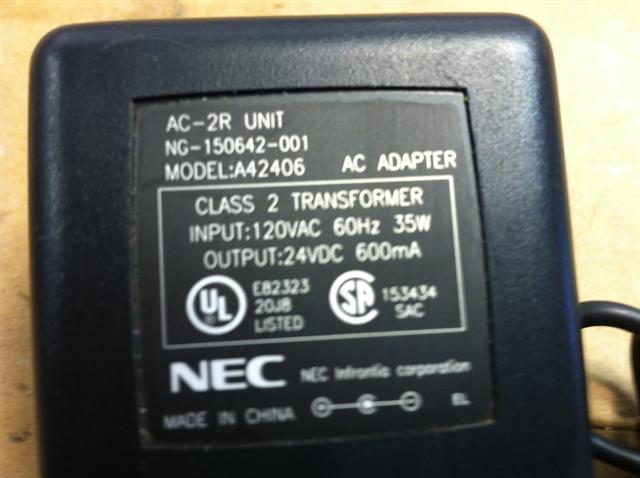 NEC AC-2R (780135) Power Supply (For NEC ITH, ITR, ITL and ITZ Phones) image