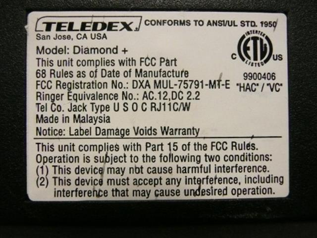 Teledex Diamond + DIA650391 Black Single Line Room Phone image