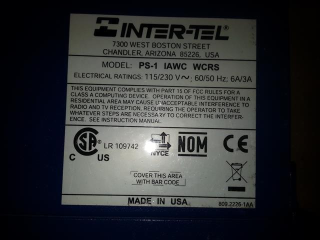 Inter-Tel / Mitel 580.5600 PS1 KSU image