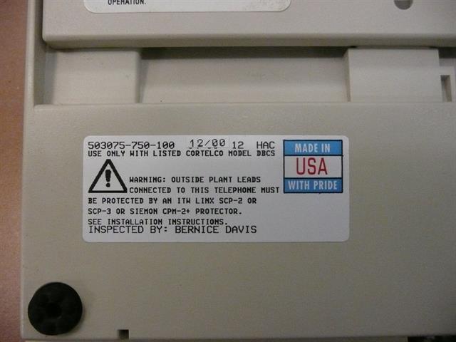 503075-750-100 White Large Display ITT Cortelco image
