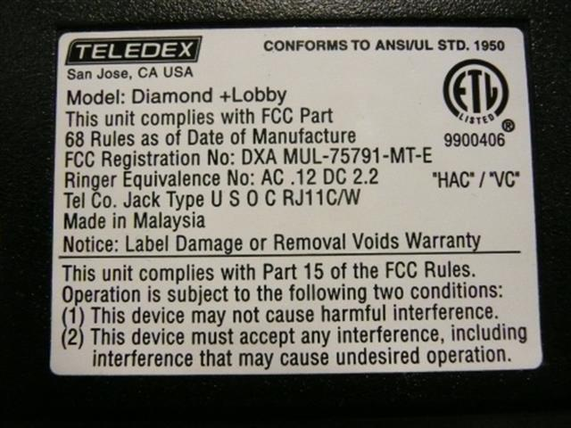 Teledex Diamond +Lobby DIA650091 Black Lobby Phone image