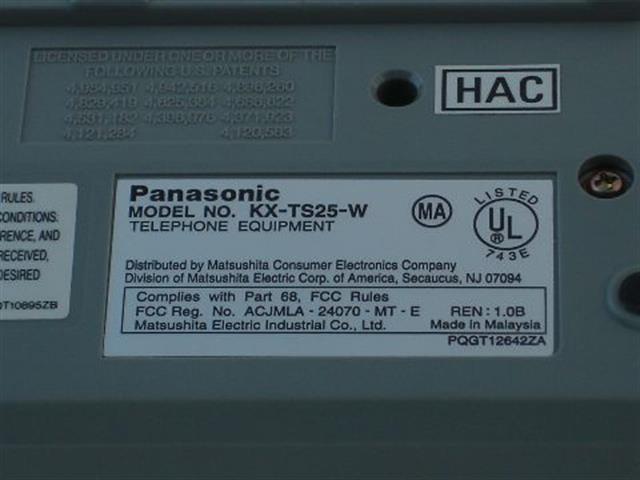 Panasonic KX-TS25-W Phone image