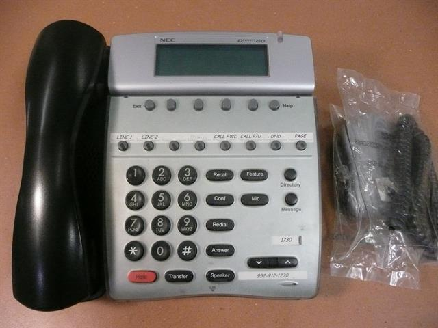 NEC DTerm80 DTH-8D-2 780571 Black 8 Button Digital Telephone with Speakerphone and Display image