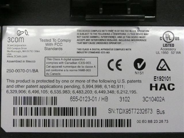 3COM 3102 (3C10402A) Phone image