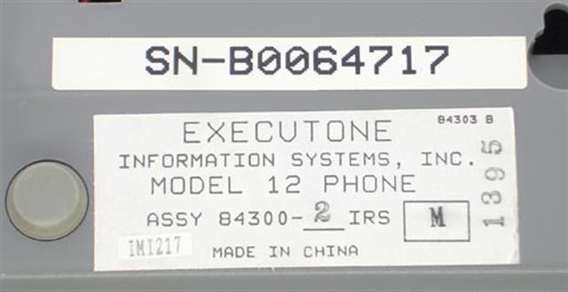 84300 (M12) (B Stock) Executone- Isoetec image