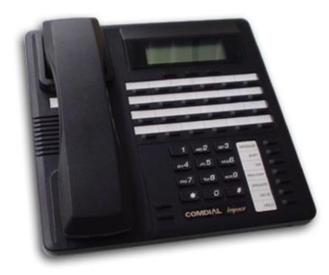 Comdial Impact SCS 8324SJ-FB Flat Black 24 Button Digital Telephone with Speakerphone, Display and Auxiliary Jack image