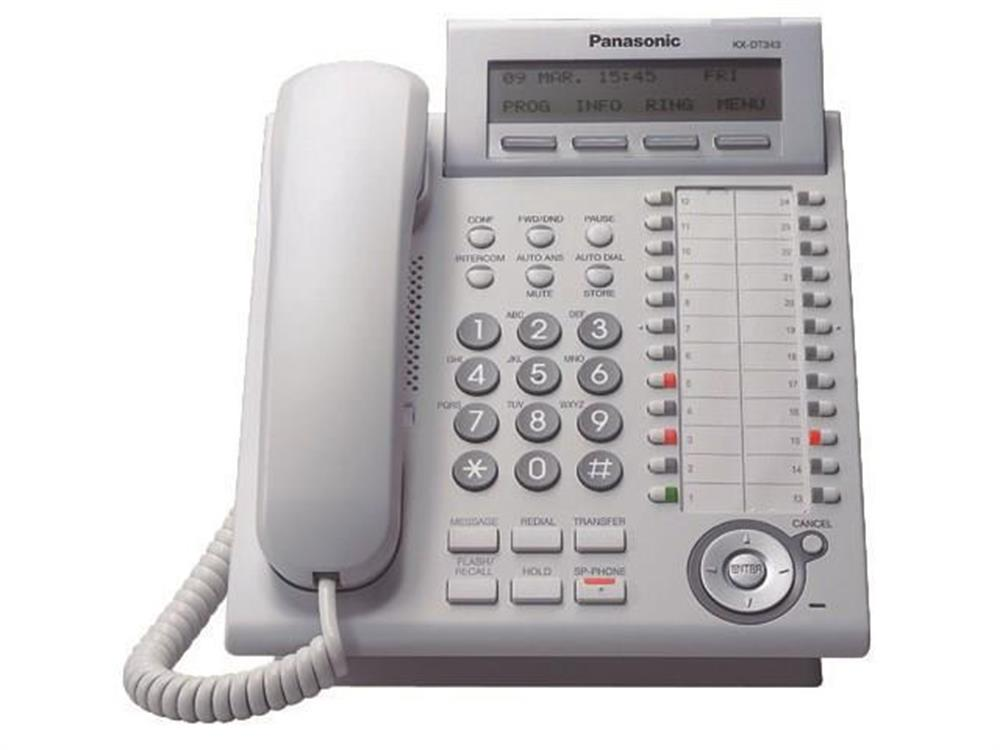 Panasonic DT300 Series KX-DT343-W White 24 Button Digital Telephone with Full Duplex Speakerphone and 3 Line Backlit Display image