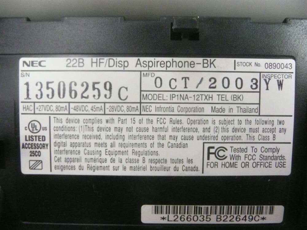 0890043 / IP1NA-12TXH NEC image