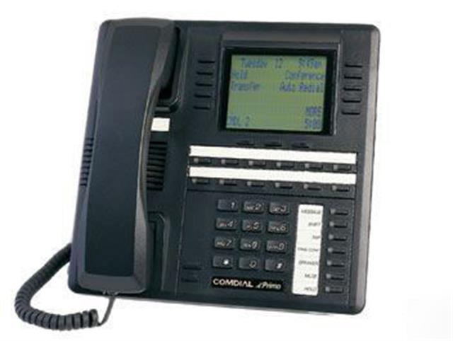 Comdial Impact SCS 8412F-FB Flat Black 12 Button Digital Telephone with Full Duplex Speakerphone and Large Screen Display image