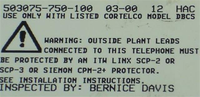 503075-750-100 White ITT Cortelco image