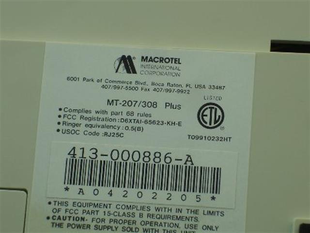 MT-308 PLUS [NIB] Macrotel image