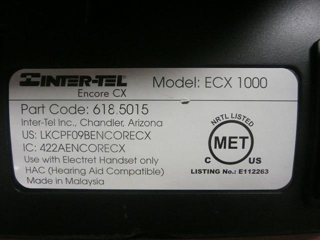 Inter-Tel ECX 1000 618.5015 8 Button Digital Telephone image