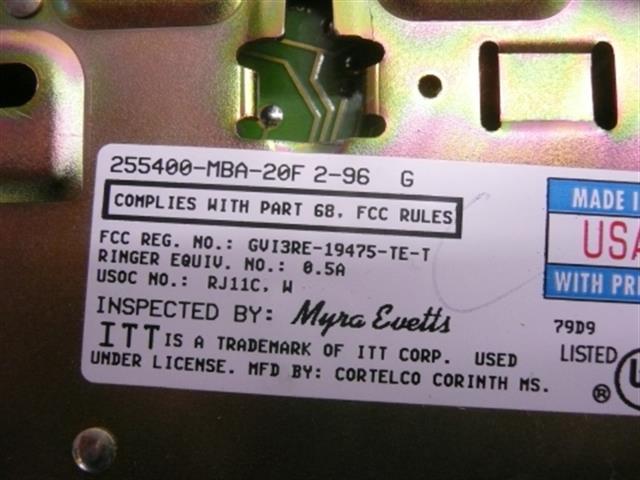 255400-MBA-20F ITT Cortelco image